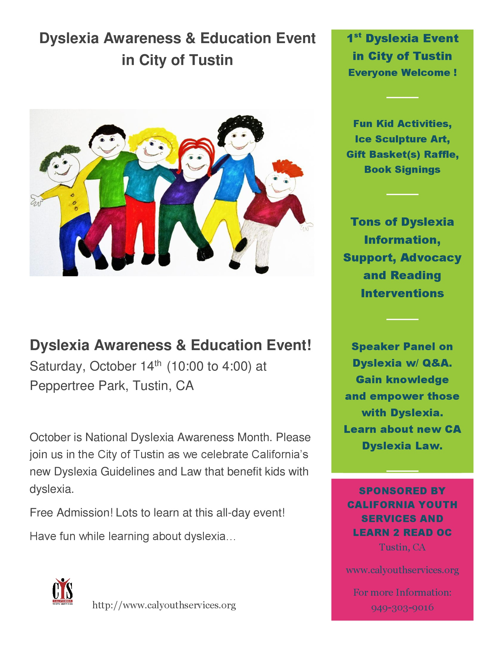 Dyslexia Awareness Campaign Upcoming >> Dyslexia Awareness Education Event In City Of Tustin