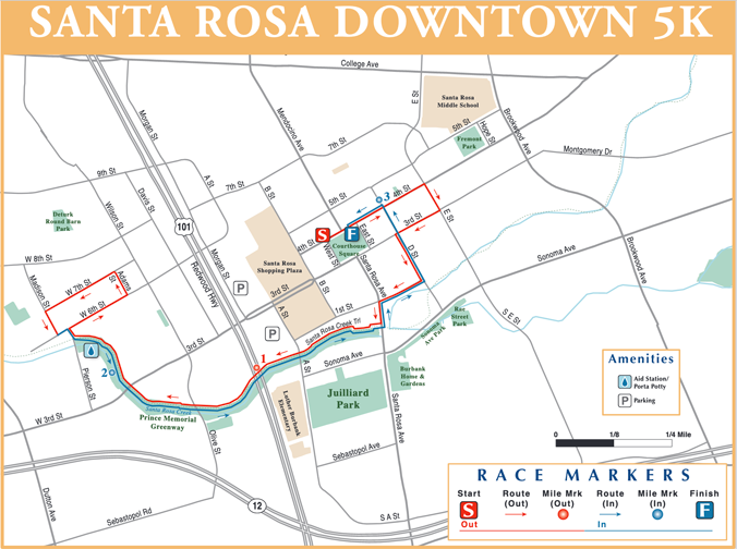 Santa Rosa Downtown 5K Race map