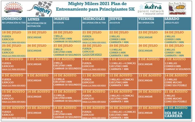 Matrix Mighty Milers training calendar