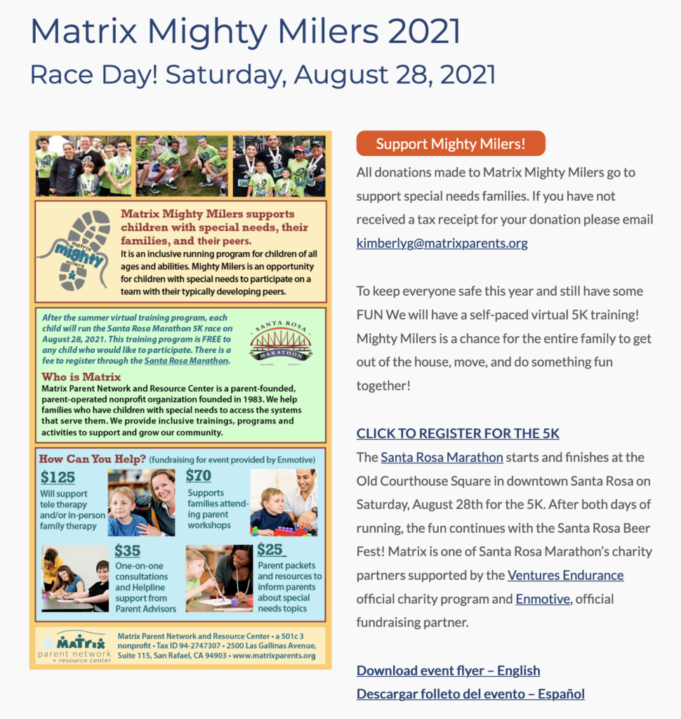 Mighty Milers 2021 race day information